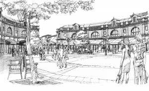 An initial rendering of the 'Town Square'